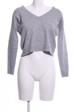 Brandy & Melville V-Neck Sweater light grey flecked casual look