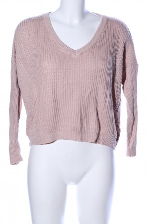 Brandy & Melville V-Neck Sweater pink cable stitch casual look