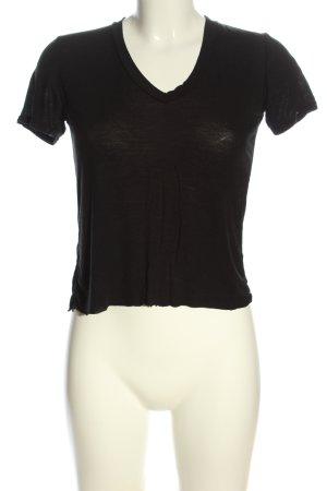 Brandy & Melville Maglia con scollo a V nero puntinato stile casual