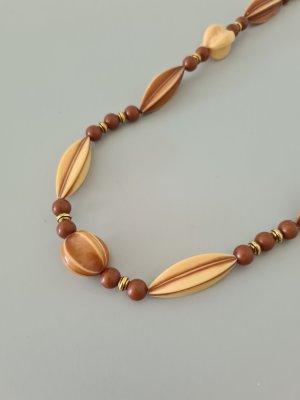 braun beige Perlenkette vintage