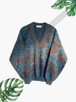 Braun blau Rost Farben Pullover Schurwolle Alpaka warm unisex Oversize | Vintage | 40-46