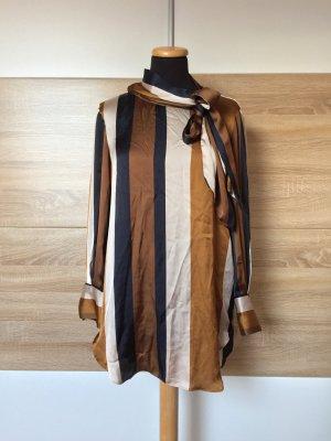 Braun blau Streifen Long Bluse, Kleid von Zara, Gr. S