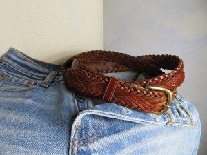 Braun Flechtgürtel Echt Ledergürtel geflochten - Vintage Distressed - Größe 100 verstellbare Größe