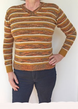 braun gestreifter Strick-Pullover, Größe 40