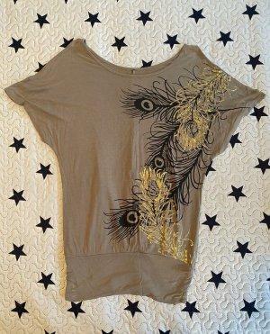 Camisa de un solo hombro marrón grisáceo