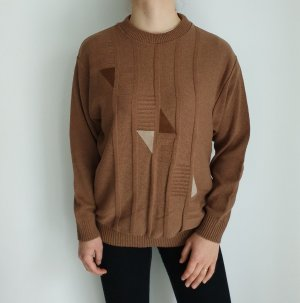 braun Oversize Pullover Hoodie Pulli Sweater Strickjacke Top Oberteil True Vintage