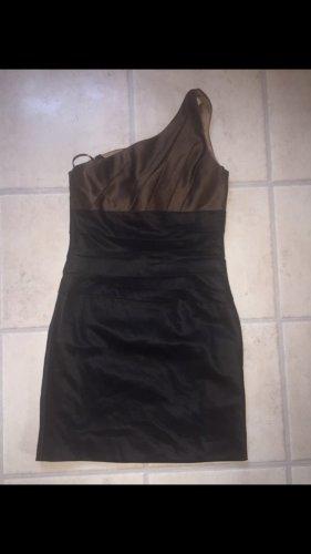Braun schwarzes One Shoulder Kleid