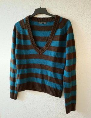 braun türkisener Pullover mit V-Ausschnitt. Größe M
