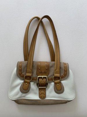 Braun/weiße Handtasche aus echtem Leder von GIANNI BINI