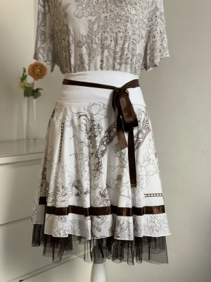Plaid Skirt white-dark brown