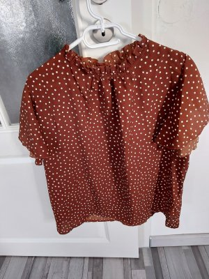 Braune Bluse weiss gepunktet gr.L XL