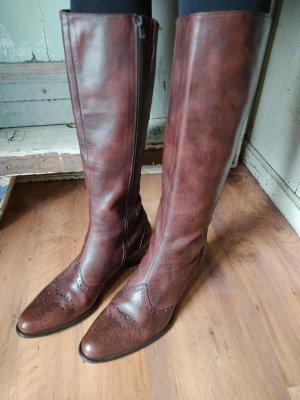 Braune Echtleder Stiefel Budapester Lochmuster Boots echtes Leder