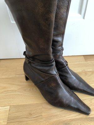 Braune Echtleder-Stiefelette K+S Shoes