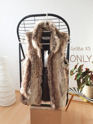 Only Fake Fur Vest light brown-brown