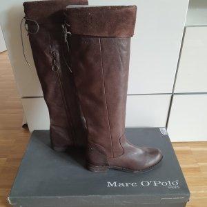 Marco Polo Buty nad kolano ciemnobrązowy-brązowy Skóra