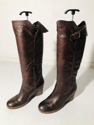 Braune Görtz Stiefel aus Leder - Gr. 39 - Keilabsatz