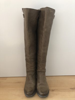 Braune Goldmud Leder Stiefel