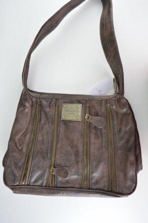 Braune Handtasche von Tamaris aus Kunstleder mit Reißverschlussoptik