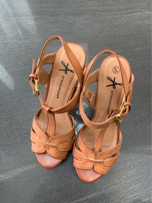 Atmosphere Platform High-Heeled Sandal brown-cognac-coloured