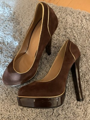Belle Women High Heels dark brown-gold-colored