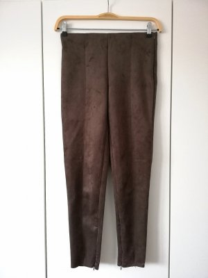 Braune Hose in Wildleder-Optik Suede