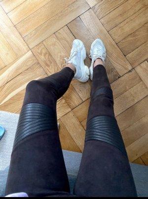 Braune Kunstlederhose mit Einsätzen Zara  XS