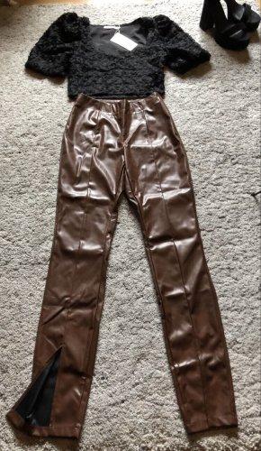 Braune Leder highwaist Hose mit Schlitz neu