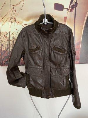 Braune Leder Jacke MNG Sports Wear L