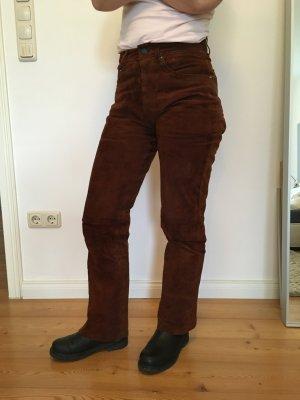 Skórzane spodnie cognac Skóra