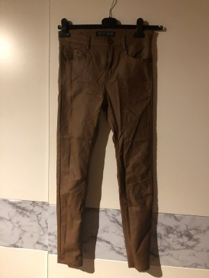 Stradivarius Pantalon en cuir brun