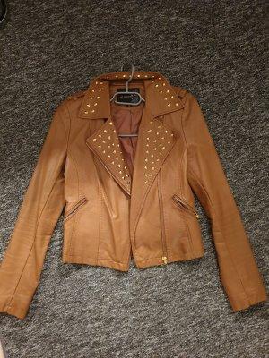 Attentif Faux Leather Jacket bronze-colored