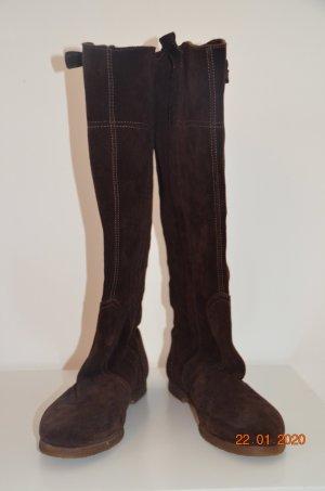 Stivale militare marrone-grigio-talpa Pelle