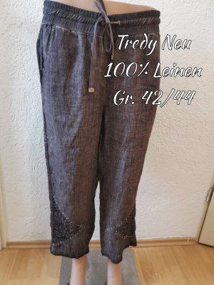 Tredy Pantalon en lin brun noir