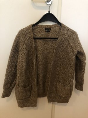 Massimo Dutti Long Knitted Vest light brown