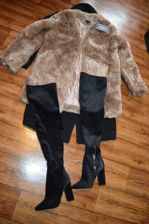 Braune neue  Midi Faux Fur Winterjacke 38 Prettylittletthink