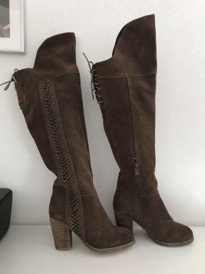 Braune Overknee Wild Leder Stiefel