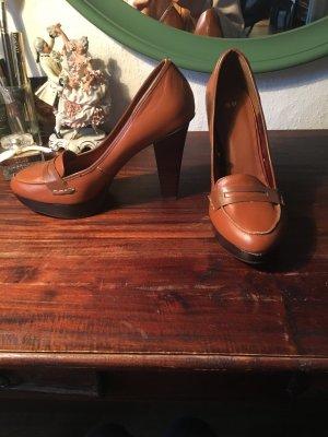 Braune Pumps high heels im Leder Look braun Schuhe Business schick