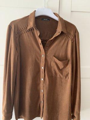 Bershka Leather Shirt light brown