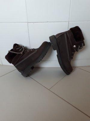 Buty zimowe ciemnobrązowy-czarno-brązowy