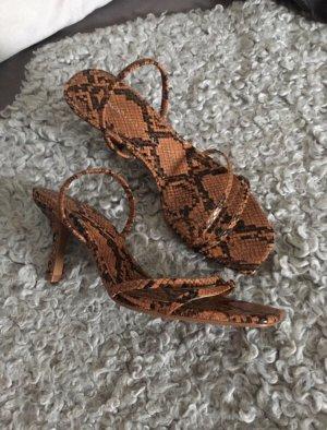 Braune Snakeprint Sandaletten Zara Größe 38