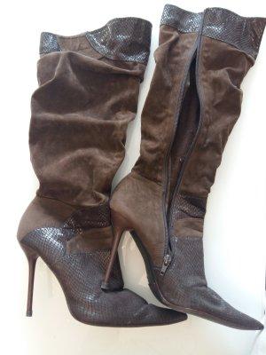 Wysokie buty na obcasie brąz-brązowy
