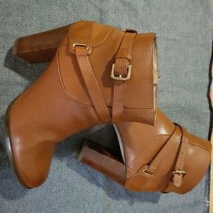 Massimo Dutti Booties cognac-coloured-brown leather