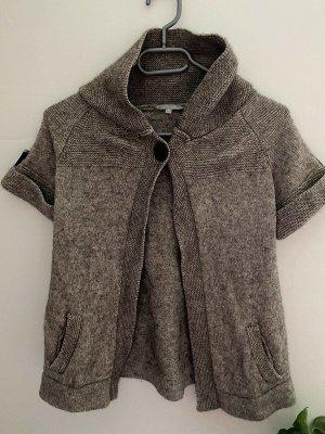 Etam Short Sleeve Knitted Jacket bronze-colored-grey brown cotton