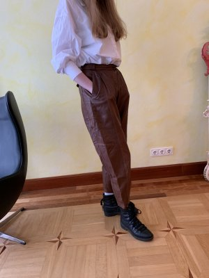 Peg Top Trousers brown red leather