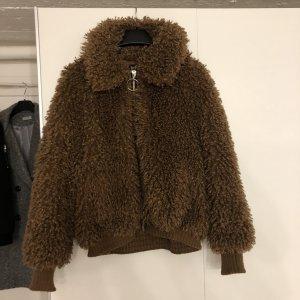 Braune Winter Stoff Jacke von Zara