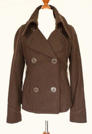 H&M Wool Jacket brown-dark brown wool