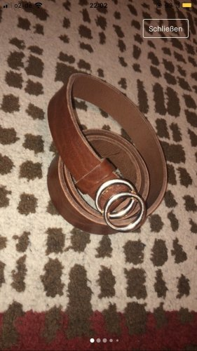Ohne Leather Belt brown-gold orange