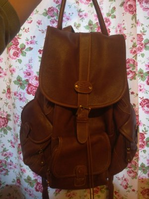 School Backpack cognac-coloured-brown leather