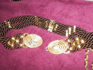Cinturón trenzado marrón oscuro-color oro
