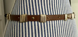 Brauner Gürtel mit goldenen Details